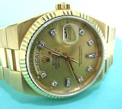 Vintage 1980's Rolex Quartz Day-Date President Diamond & 18k Gold Watch