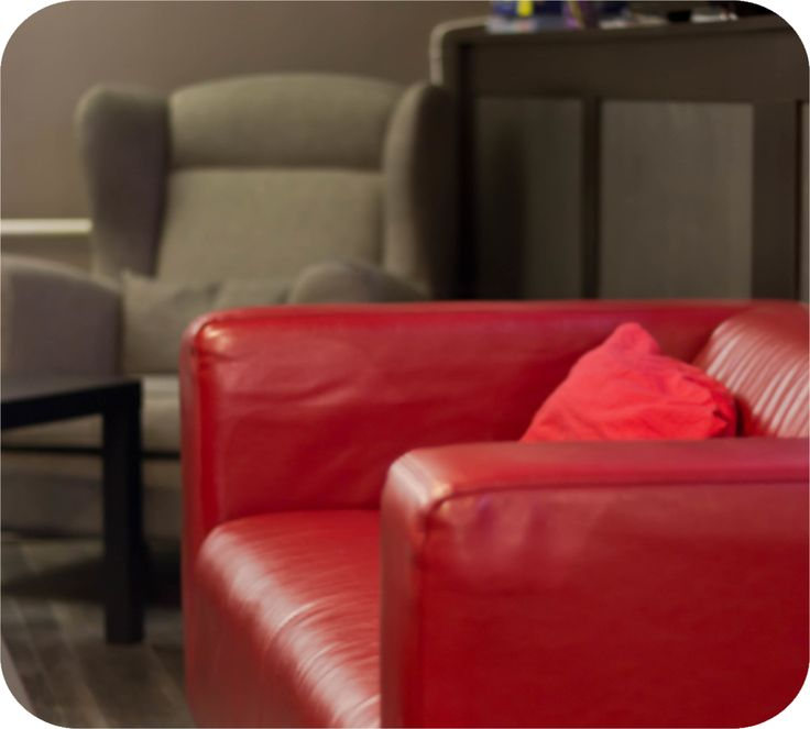 A stylish red couch brings soma extra color @ Chocoroom, Budapest