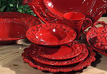 Tuscan Horchow Intrada Baroque Red Dinnerware 16 PC Set   eBay