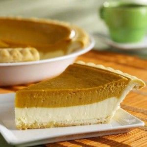 Pumpkin Cheesecake Pie - Perfect those of us who can't get enough pumpkin pie AND cheesecake!!