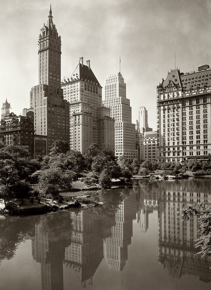 """1933. A view across New York's Central Park Lake framed by the Sherry-Netherland and Plaza hotels. 5x7 safety negative by the noted architectural photographer Samuel Gottscho."""