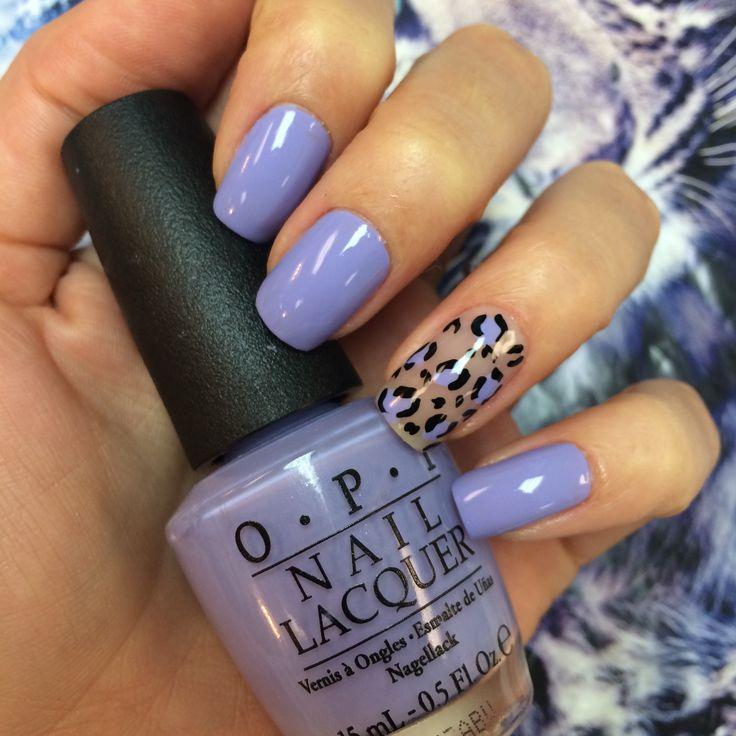 Lilac nail polish and animal print