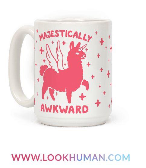 """This cute llama mug is great for all awkward nerds who love unicorns and llamas and are """"majestically awkward!"""" This unicorn mug is perfect for fans of llama unicorn, awkward llama, awkward shirts, funny llama, kawaii llama, and awkward jokes."""