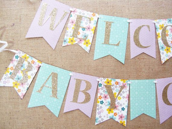 Purple Mint and Gold Baby Shower Banner Welcome Baby Girl
