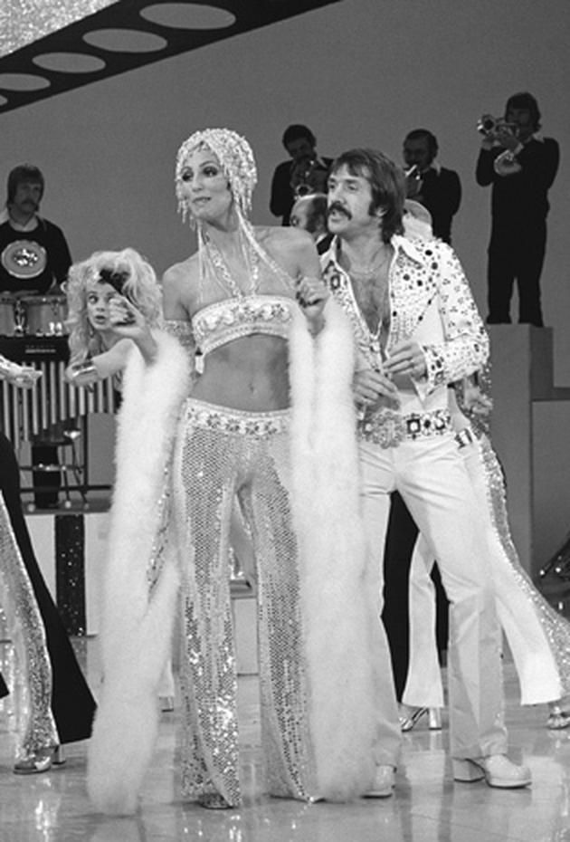 """""""The Sonny and Cher Comedy Hour,"""" February 10, 1973. Cher and designer Bob Mackie first crossed paths when Sonny & Cher appeared on """"The Carol Burnett Show"""" in the 1960s. When the singing duo got their own series in 1971, Cher asked Mackie to design her outfits. Their collaboration continues to this day."""