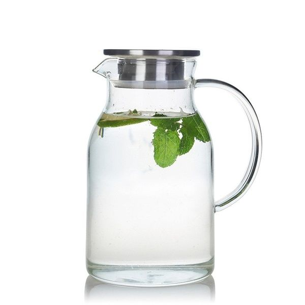 44 OZ Hot//Cold Water Carafe Juice Jar and Iced Tea Pitcher Glass Pitcher