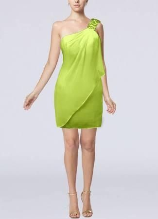 Bright Green Bridesmaid Dress Bridal Ruffles Full One Shoulder Nightclub Petite Strapless Maternity Semi Formal Cute Draped Zip Up Fall Gown Cocktail - Brought to you by Avarsha.com
