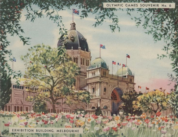 This is a coloured souvenir card of the Exhibition Building showing the southern facade with trees and flowers in the foreground, circa 1956. The card, which was produced by Colgate-Palmolive Pty Ltd, was made as part of a set of Olympic Games souvenir cards, which originally were wrapped around cakes of soap.  The Exhibition Building was the venue for weightlifting, wrestling, basketball, fencing  ...