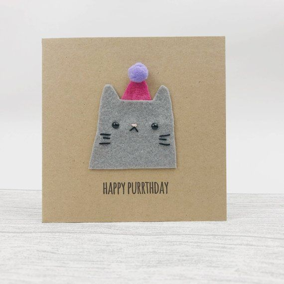 Cute Birthday Card Cat Lovers Card Party Hat Pompoms Funny Cat Birthday Card Cool Birthday Cards Funny Birthday Cards
