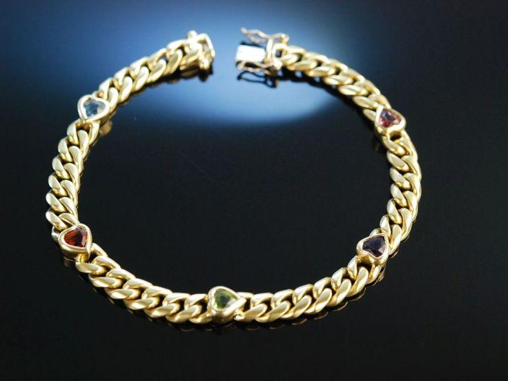 Heart Bracelet! Exquisites schweres Panzer Armband Gold 750 herzförmige Edelsteine Topas, Citrin, Peridot und Granat