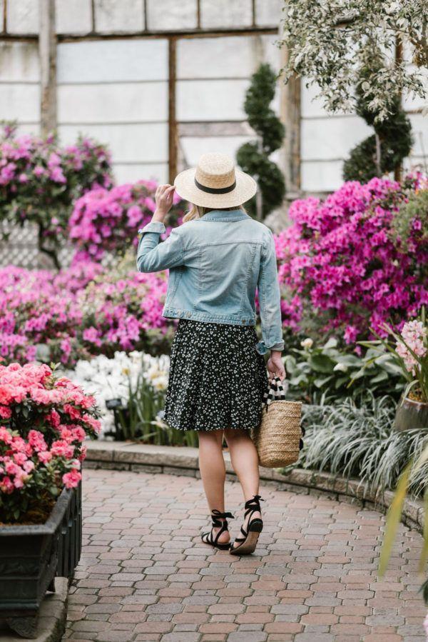 a6ba916c64 Spring Outfit: Floral Dress + Denim Jacket   FASHION   Denim jacket ...