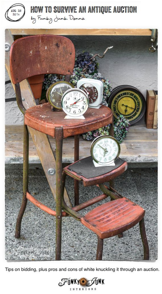 How to survive an antique auction / tips on bidding, and the pros and cons of all things auction via FunkyJunkInteriors.net