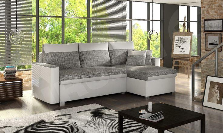 Narożnik z funkcją spania Fler to mebel klasyczny z dwukolorowym obiciem, które nadaje mu wyjątkowego wyglądu. Widoczne na aranżacji poduszki są elementem zestawu i zdecydowanie podnoszą komfort codziennego wypoczynku.Corner with the function Fler beds are a classical piece of furniture with the two-coloured upholstery which is giving him a lot of the exceptional appearance. #rest #corner #sofa #bed #living #room #home #mirjan24 #narożnik #łóżko #odpoczynek #dom