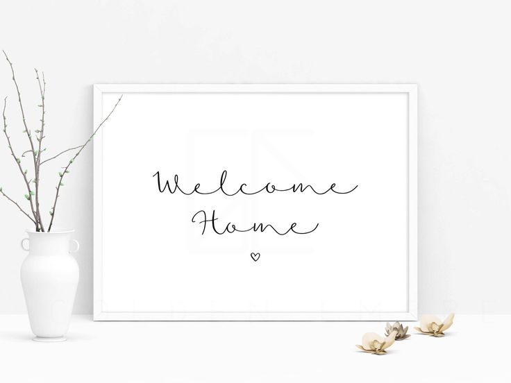 welcome home, welcome sign, welcome print art, quote prints, welcome quote, simple modern quote, handwritten quote, wall art, typography art by theGoldenEmpress on Etsy