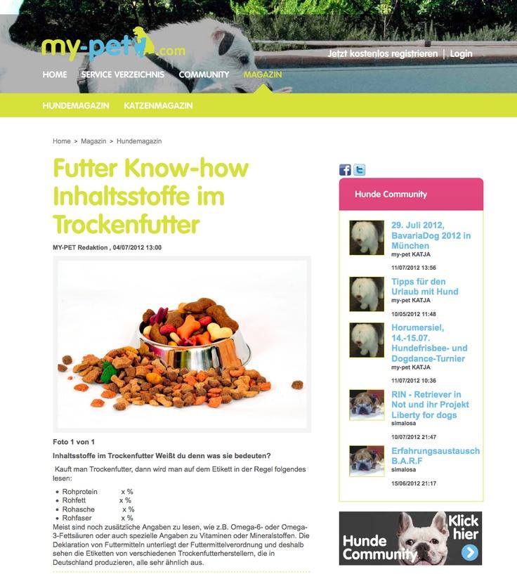 Inhaltsstoffe im Trockenfutter Weißt du denn was sie bedeuten?    http://www.my-pet.com/Article/ArticleDetail/Inhaltsstoffe-im-Hundefutter-Hundeernaehrung-Trockenfutter/258