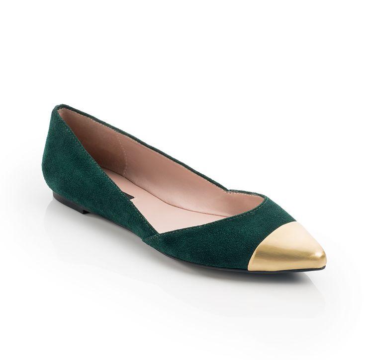 Koko - dark green suede with gold metal toe cap