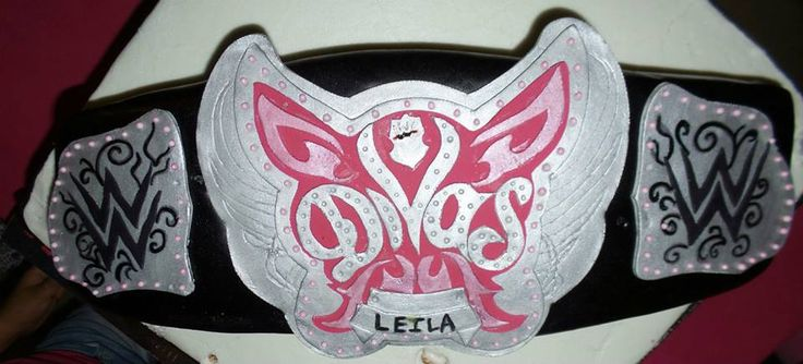 WWE DIVAS Championship Belt cake that I made for my daughter's birthday