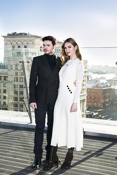 Lily James and Richard Madden at the 'Cinderella' Photocall in Moscow on February 17, 2015.