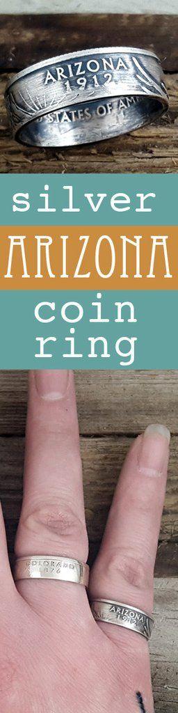 Arizona 90% Silver State Quarter Coin Ring #arizona #coinring