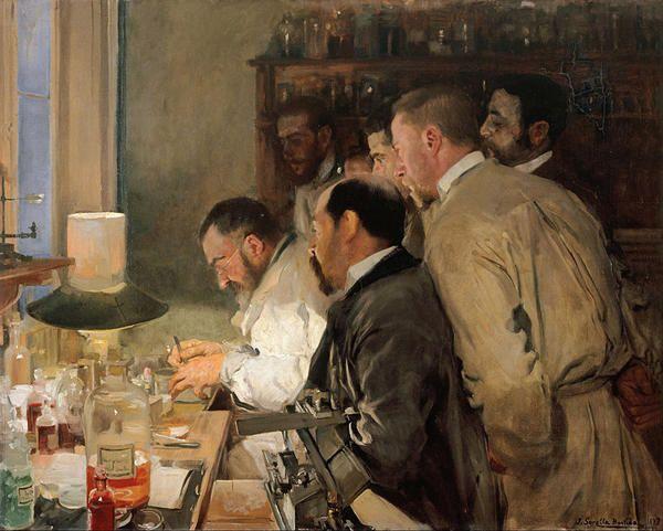 Joaquin Sorolla Bastidas (Valencia, 27 de febrero de 1863-Cercedilla, provincia de Madrid, 10 de agosto de 1923) Laboratorio  De su serie sobre ciencia y científicos