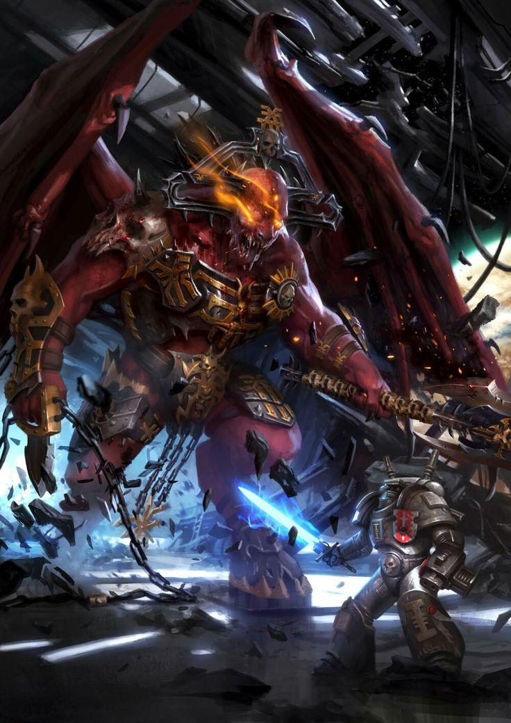 Khorne Demon vs GreyKnight in 2020 Warhammer 40k artwork