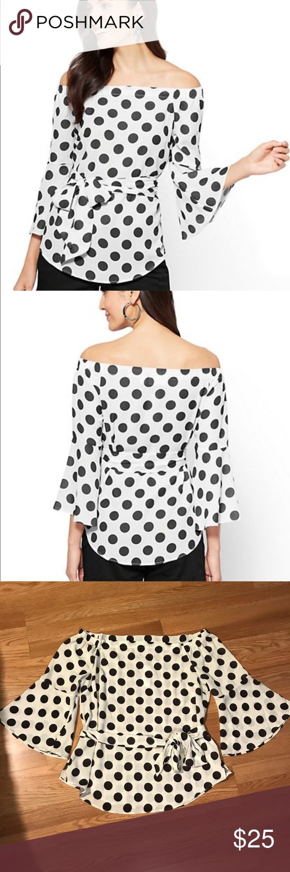New York & Company 7th Avenue Off the Shoulder Top Nwt. White with black Polka dots. Off the shoulder silhouettes and flounced sleeves finished with a waist defining self tie belt. Off the shoulder neckline. Darts at bustline. Self-tie belt at waist. Side slits. Semi-sheer. Bracelet length with flounce sleeve. Hits at the hip. 97% Polyester 3% Spandex. Size Large New York & Company Tops Blouses