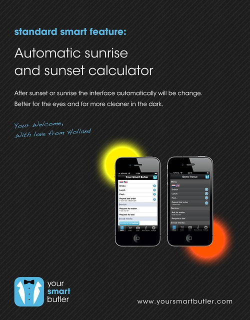 Automatic sunset and sunrise calculator. A nice feature of Your Smart Butler's online platform for the hospitality industry: Sunri Calculator, Online Platform, Smart Butler, Automat Sunsets, Nice Features, Hospitals Industrial, Sunrises Calculator, Butler Online