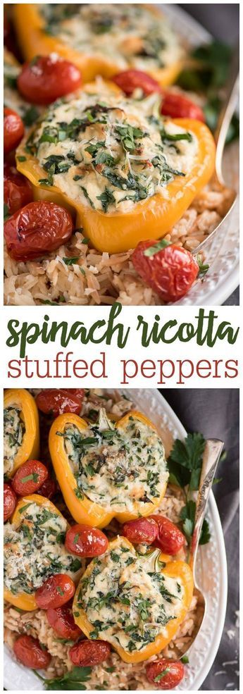 Spinach Ricotta Stuffed Peppers - onions, garlic, spinach, seasoning, ricotta and parmesan cheese, and a grain of your choice stuffed in a bell pepper! The perfect entree for Meatless Monday or a dinner with vegetarian friends!