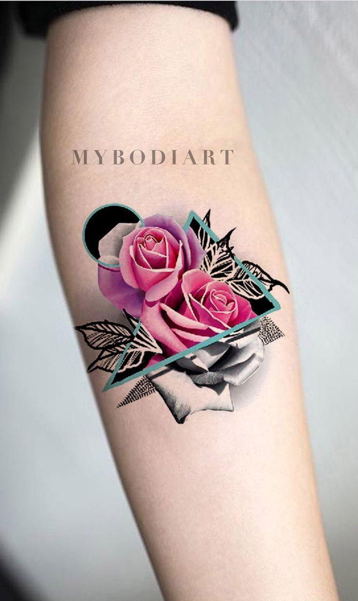 Kaylee Watercolor Pink Rose Geometric Mandala Temporary Tattoo