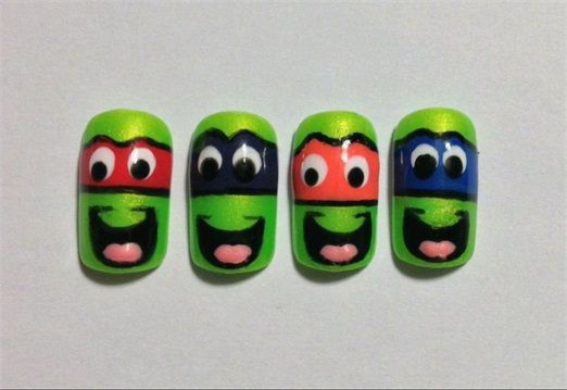 Day 221: Teenage Mutant Ninja Turtles Nail Art