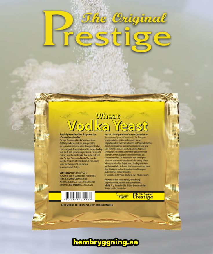 Prestige Professional Vodkajäst innehåller en jäststam lämplig för vodkadestilleri, tillsammans med de nödvändiga näringsämnen och mineraler som behövs för snabb ren fullständig jäsning, utan att överbelasta din jäsning med onödiga näringsämnen  I Sverige använd till snabbjäsning av vin, främst äppelvin.