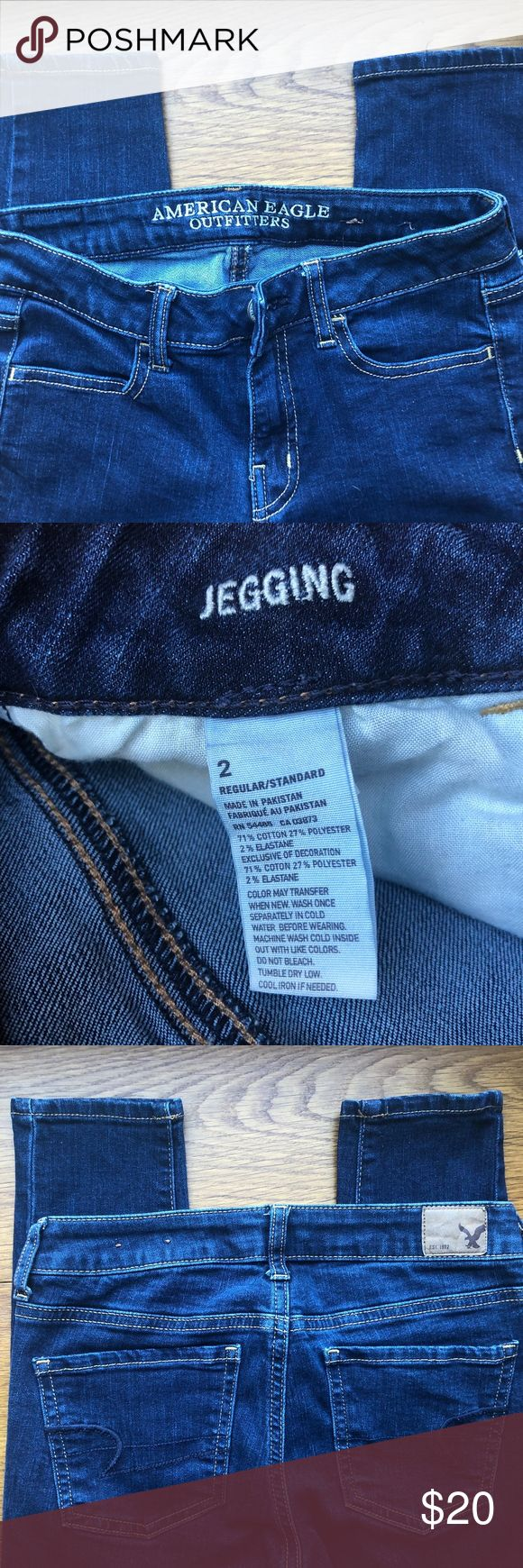 "American Eagle Women's Jeggings American Eagle Jeggings Dark Wash Great Condition Inseam 28"" Jeans"