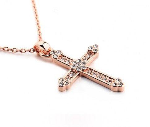Rhinestone Cross Pendant Necklace. Available in Rose Gold or Silver Plated. Just $12.