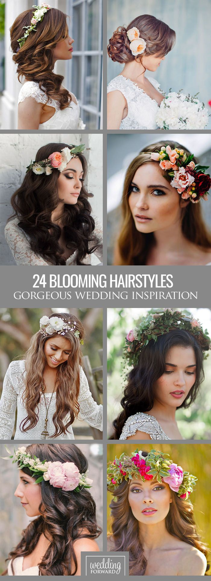 24 Gorgeous Blooming Wedding Hair Bouquets ❤ See our gallery of blooming wedding hair and be inspired! See more: http://www.weddingforward.com/blooming-wedding-hair-bouquets/ #weddings #hairstyles