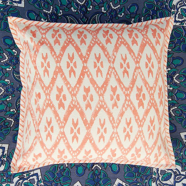 "Hand Block Printed Cotton Canvas Cushion Cover Ikat Print Pillow Cover Case 16x16"" by ArtofPinkcity on Etsy"