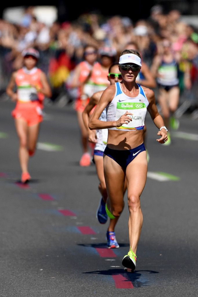 Shalane Flanagan of the United States competes during the Women's Marathon on Day 9 of the Rio 2016 Olympic Games at the Sambodromo on August 13, 2016 in Rio de Janeiro, Brazil.