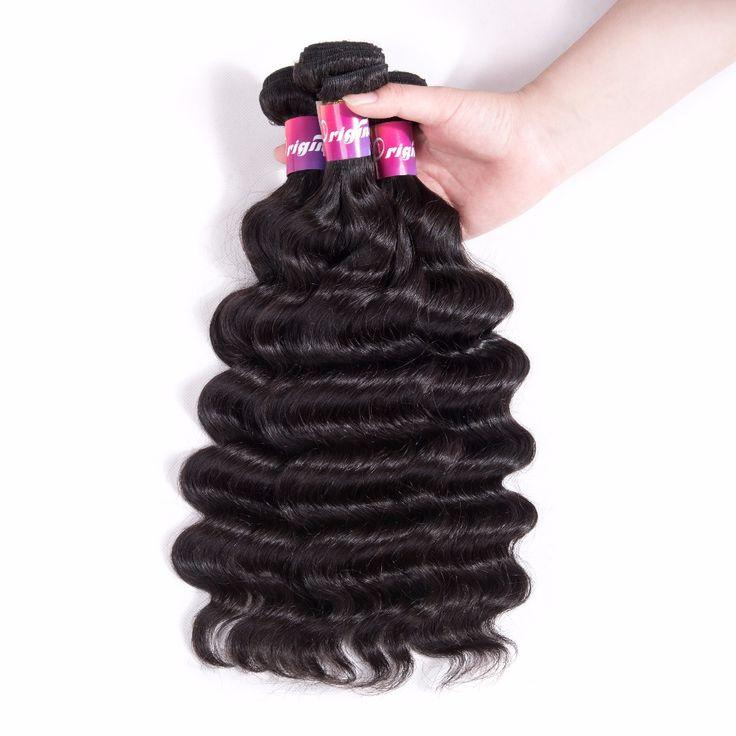 Originea Brazilian Loose Deep 3 Bundles Remy Human Hair Extension Salon Remy Bundles Human Hair Extensions Natural Black Weavon