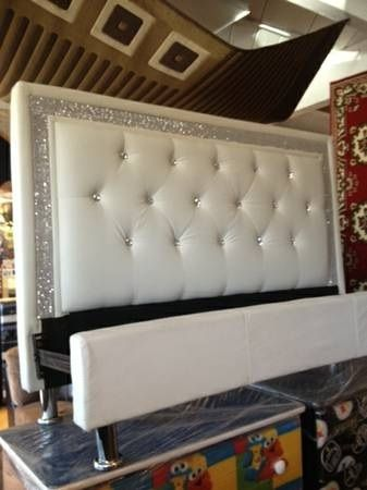 White leather tufted diamond headboard