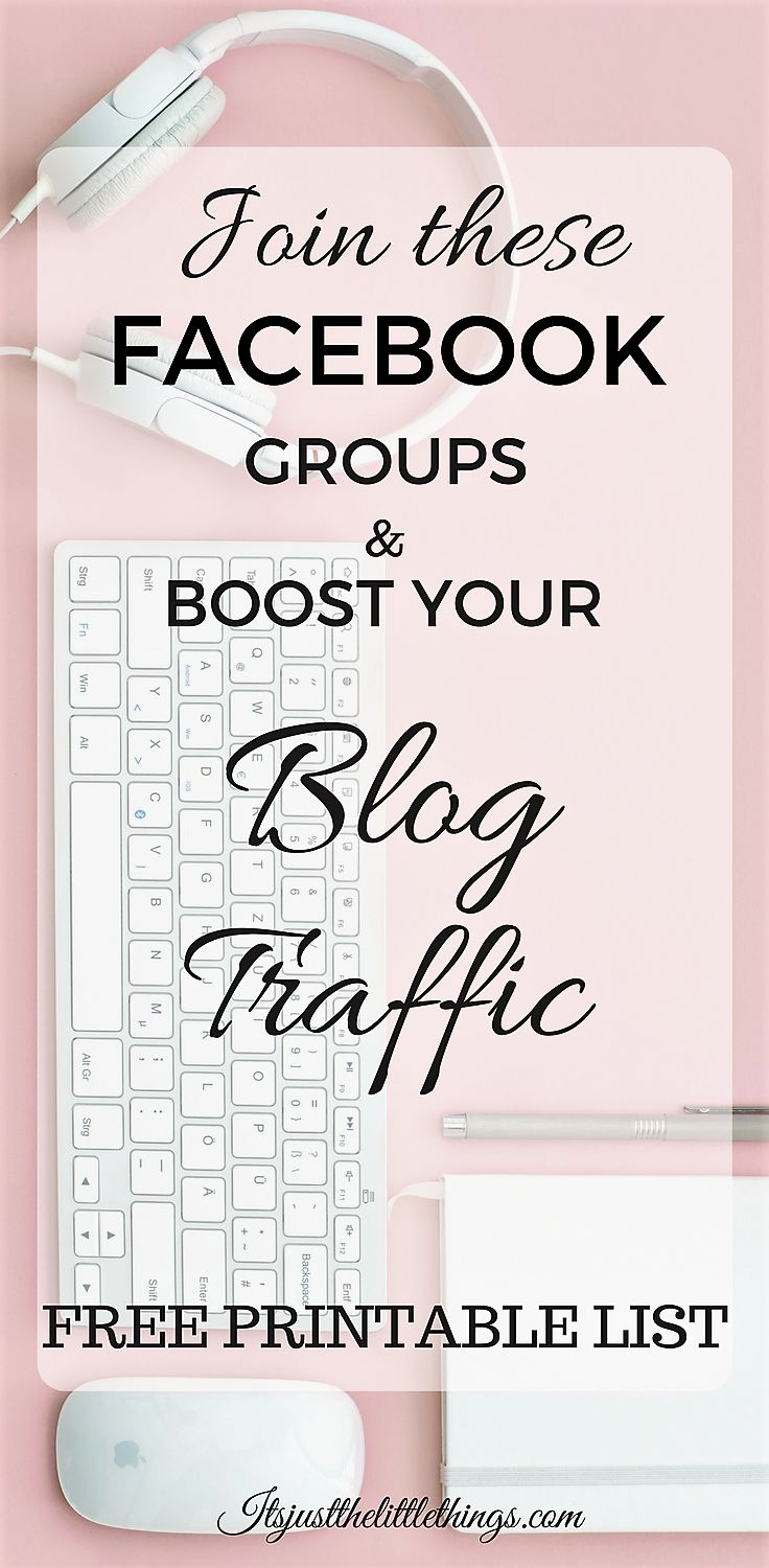 Join Facebook groups to boost your blog traffic. Facebook groups for bloggers. Blogging tips. Blogging for beginners. Increase page views.
