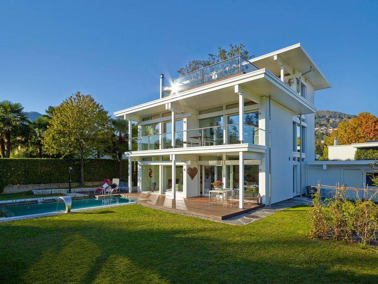 Garten mit Außenpool - HUF Haus ART Flachdach - Exklusive ...