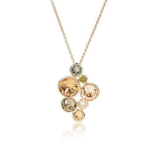 Aurora, collana in ottone placcato composta da una catena maglia rolò e da un pendente con design a grappolo. Il bel pendente è formato da Elementi Swarovski® di differenti dimensioni e colori. Aurora, il paradiso dei cristalli.