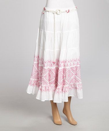 Another great find on #zulily! Pink & White Peasant Skirt #zulilyfinds