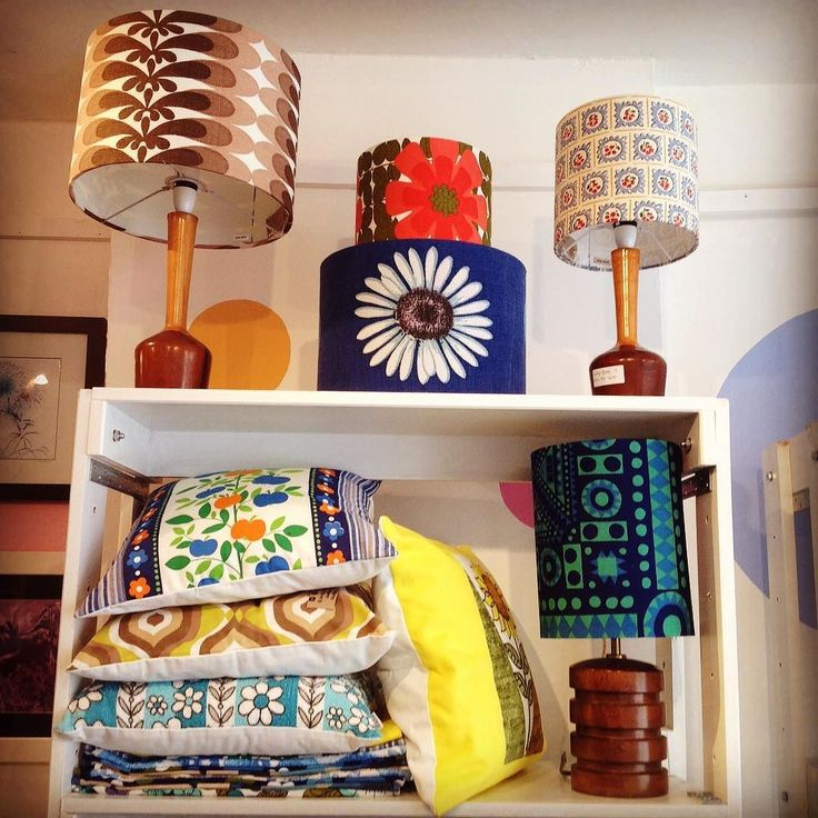 Beautiful #vintage landshades and cushions from @fabric.paper.scissors #thecraftcollective