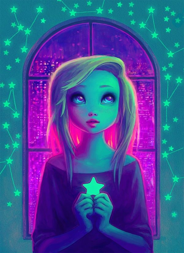 Never Seen Stars - A quirky yet endearing digital paint of a girl holding a star. The magenta and blue color combination adds to the mysterious and curious world in which this girl is wishing for in.