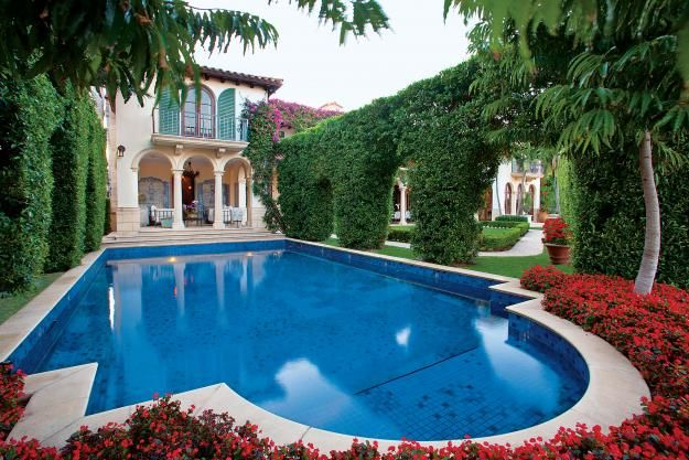 An Italian Inspired South Florida Landscape With Breath-taking Arched Hedges And A Cerulean Pool ...