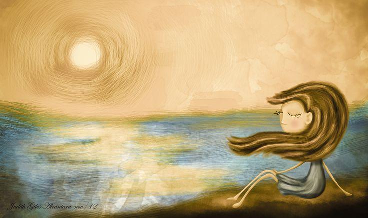 ilustracion digital atardecer en el mar