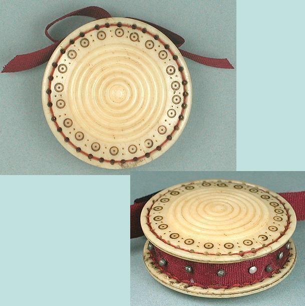 Antique Carved Bone Madras Work Pin Cushion Disc English Circa 1820 Pin Cushions Sewing Items Sewing Cushions