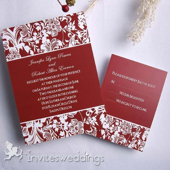 38 best Red Wedding Invitations images on Pinterest Red wedding