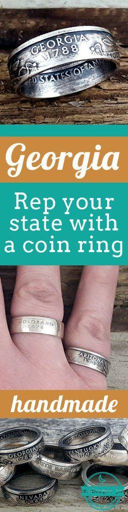 Georgia 90% Silver State Quarter Coin Ring #georgia #silvercoinring #coinring