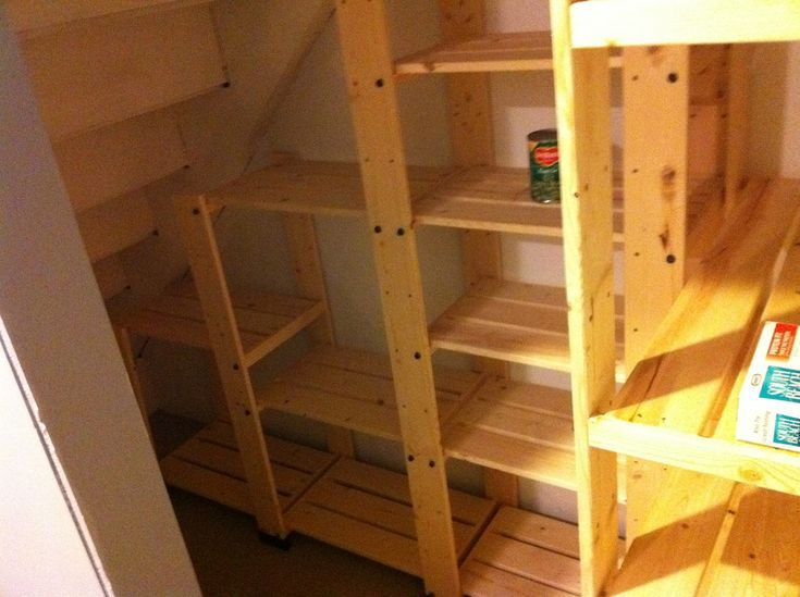 55 best home office ideas images on pinterest cupboard for Building shelves under stairs